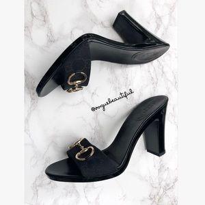 Gucci Monogram Horsebit Heeled Sandals